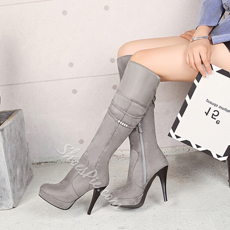 Shoespie Side Zipper Chain Platform Stiletto Heel Knee High Boots