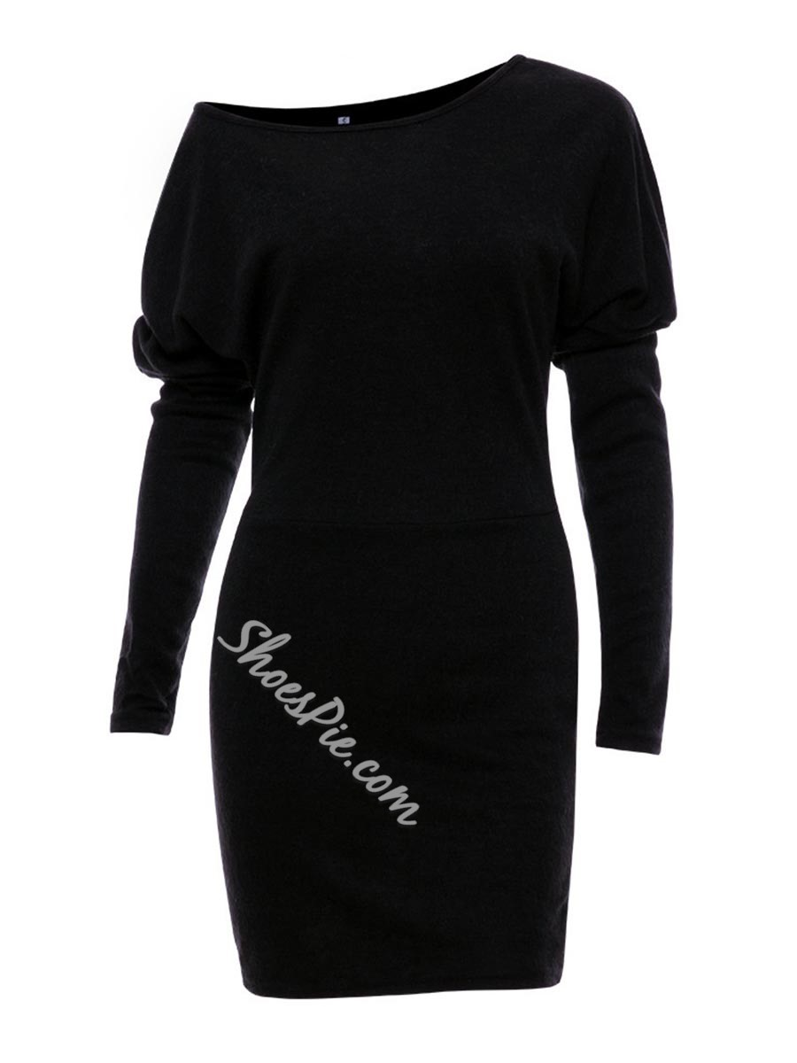 Shoespie Above Knee Batwing Sleeve Bodycon Dresses