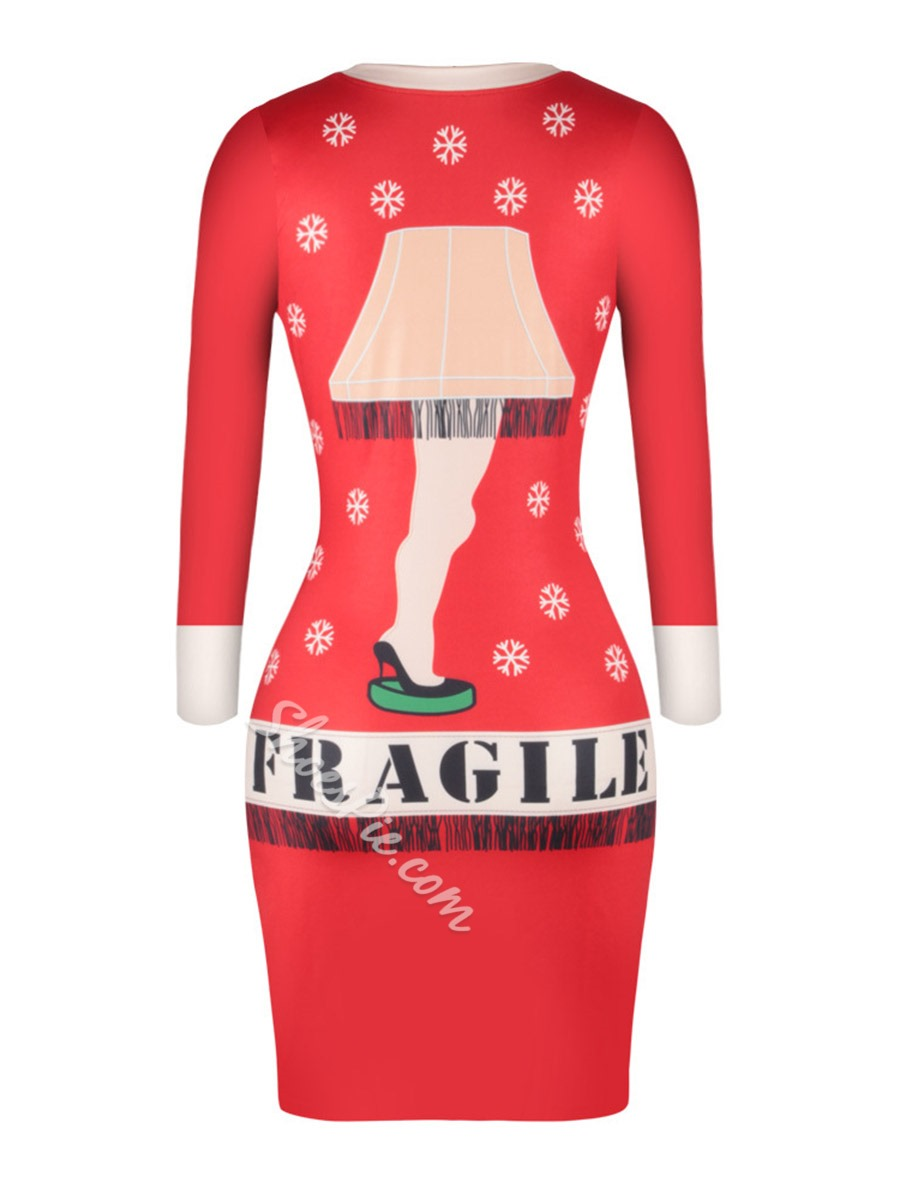 Shoespie 3D Cartoon Long Sleeve Bodycon Dresses