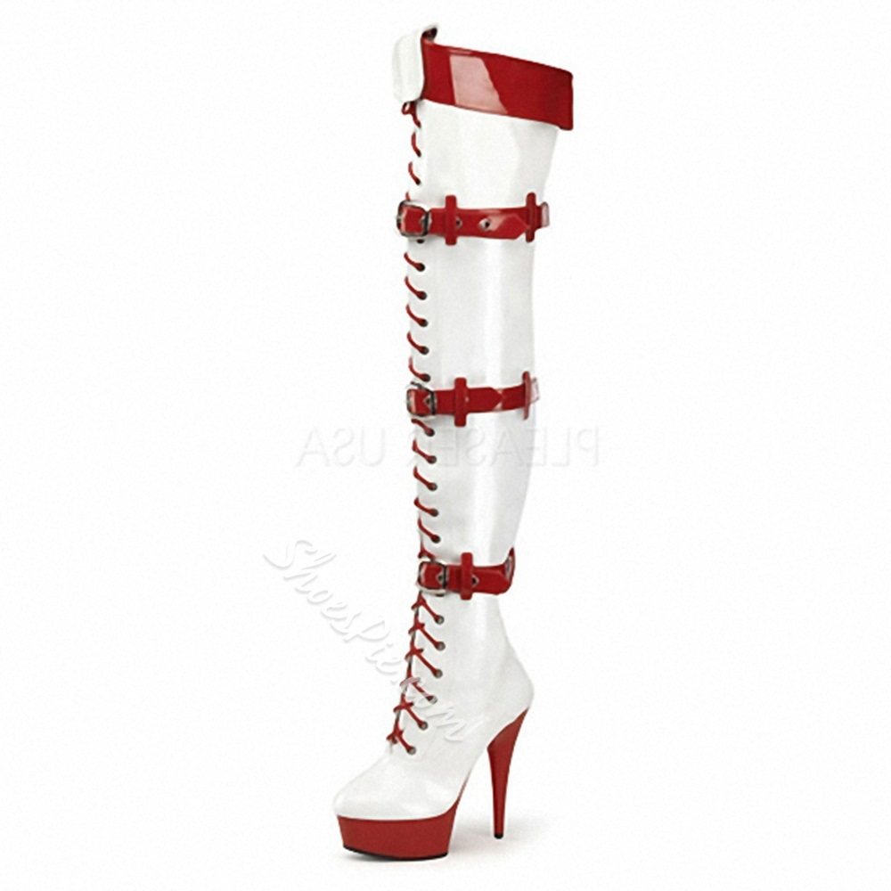 ShoespieCross Strap Platform Buckle Side Zipper Knee High Boots