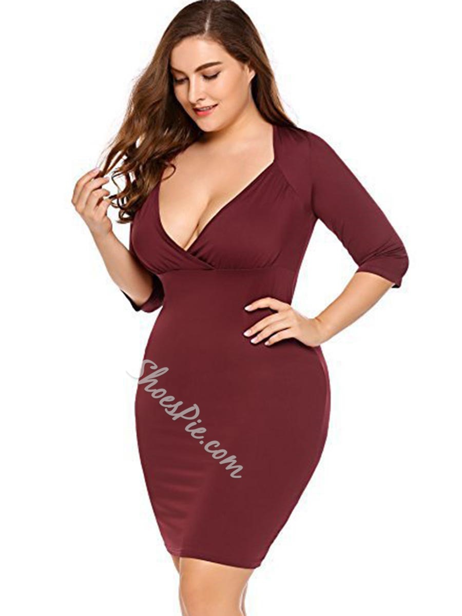 Shoespie V-Neck Three-Quarter Sleeve Bodycon Dresses