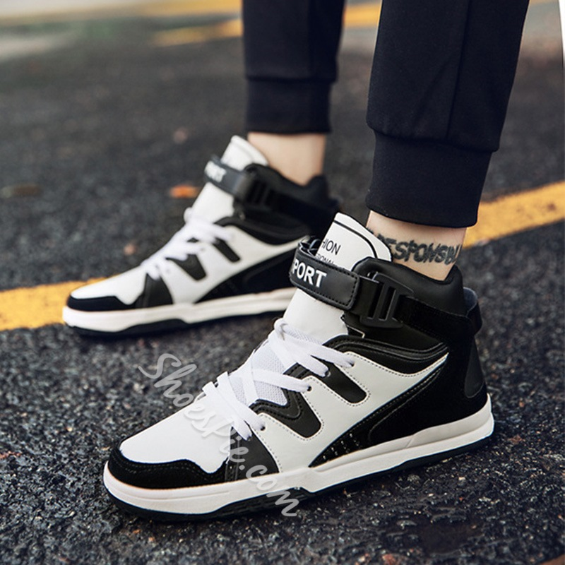 Shoespie Color Block Velcro Lace-Up Men's Sneakers