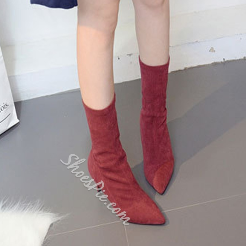 ShoespieCasual Pointed Toe Stiletto Heel Slip-On Ankle Boots