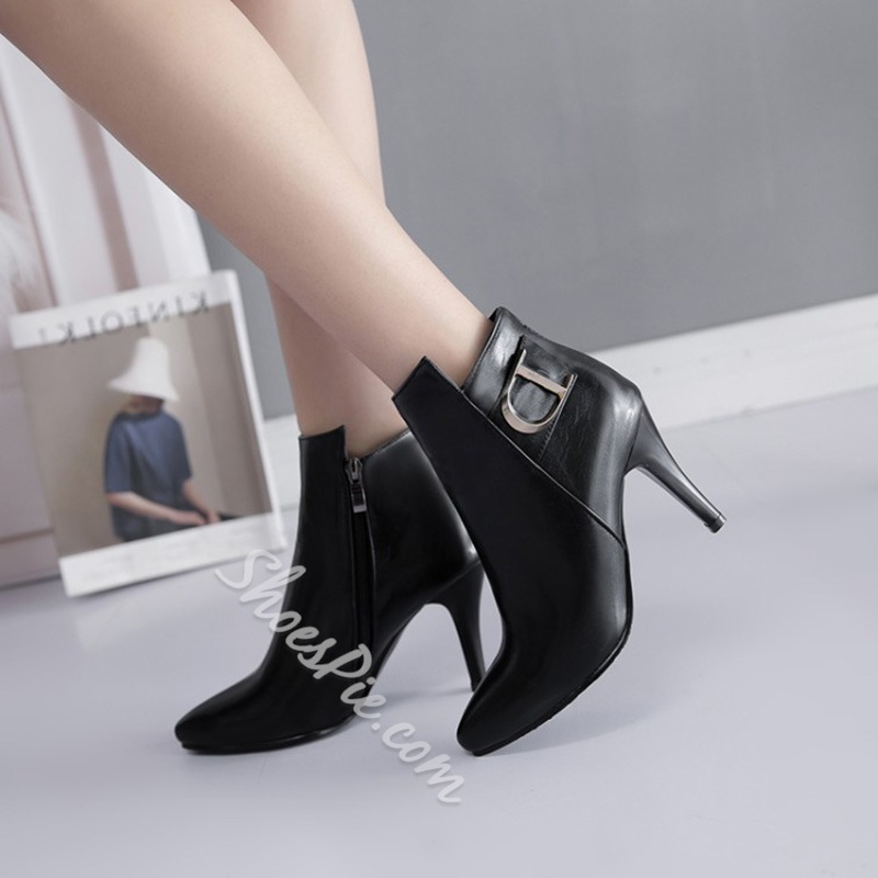 Shoespie Pointed Toe Sequin Side Zipper Ankle Boots
