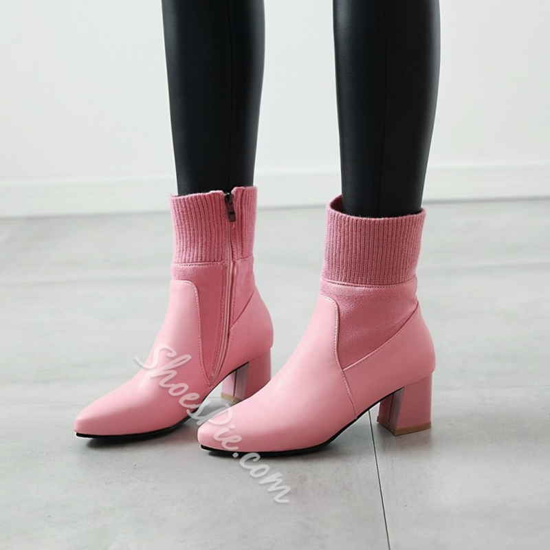 Shoespie Pointed Toe Side Zipper Chunky Heel Sock Ankle Boots
