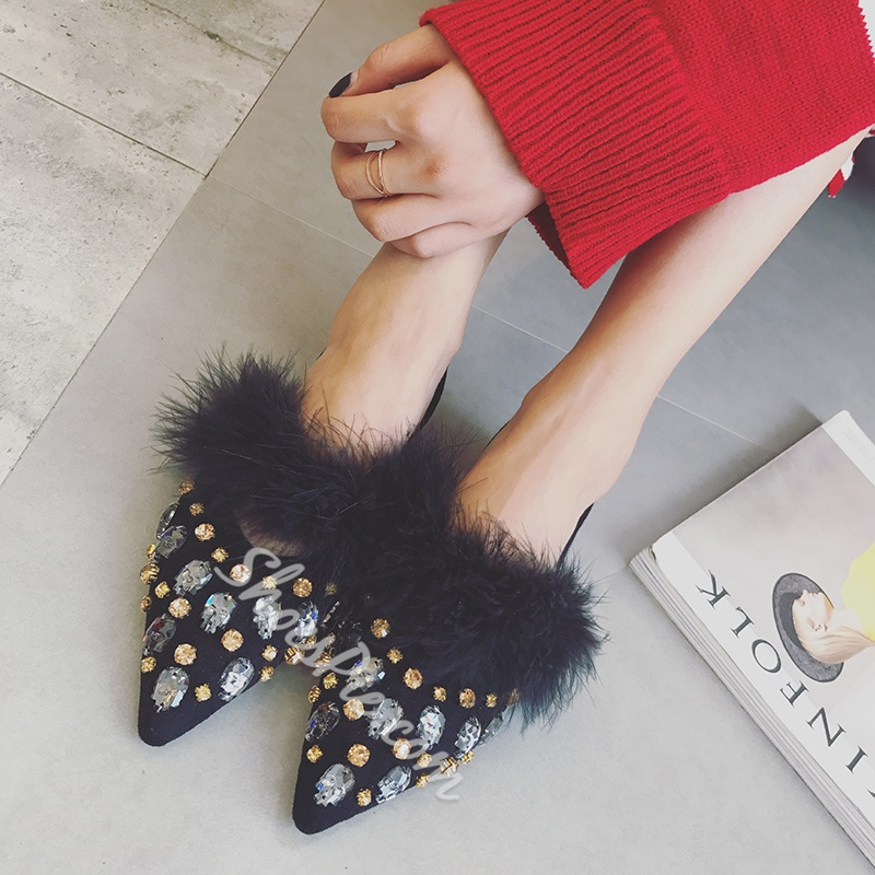 Shoespie Hollow Rhinestone Purfle Pointed Toe Comfort Flats