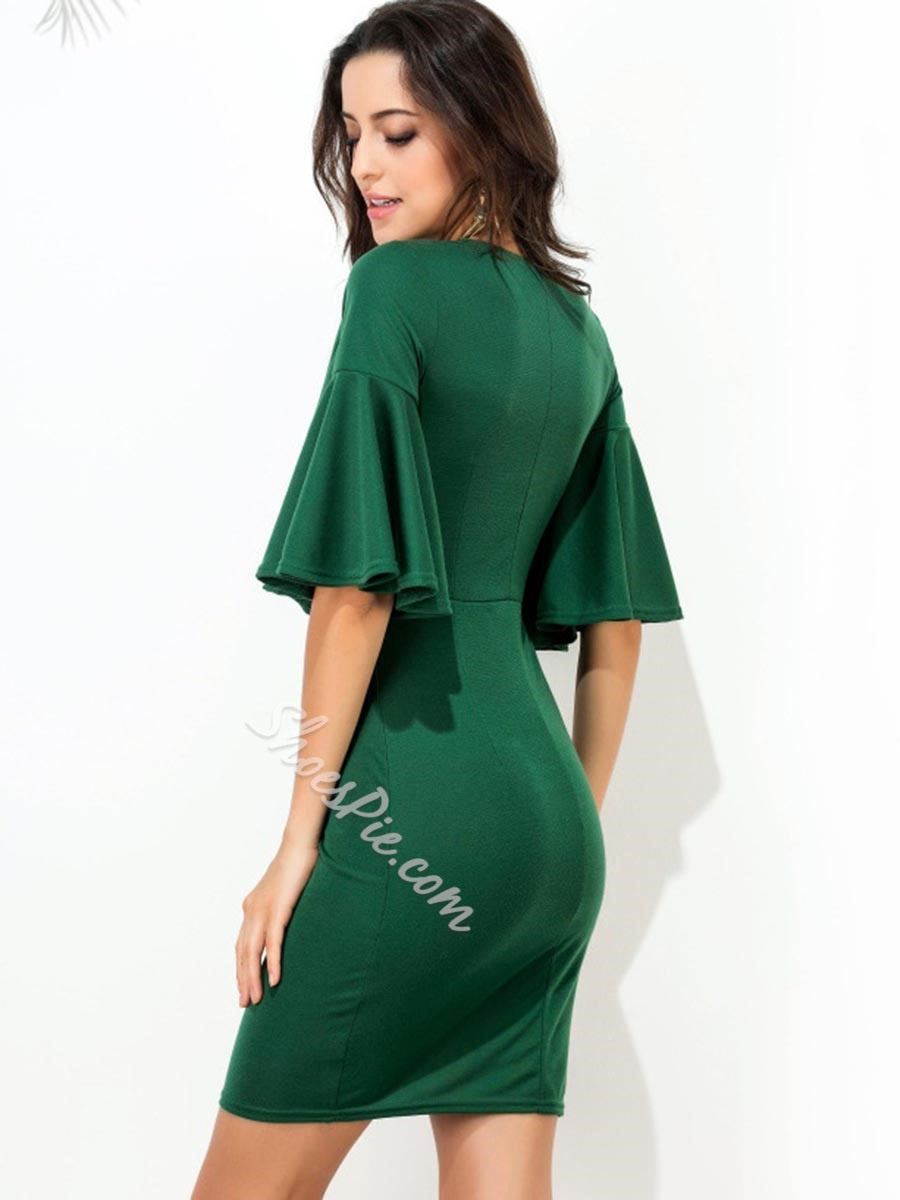 Shoespie Green V-Neck Ruffle Sleeve Bodycon Dresses
