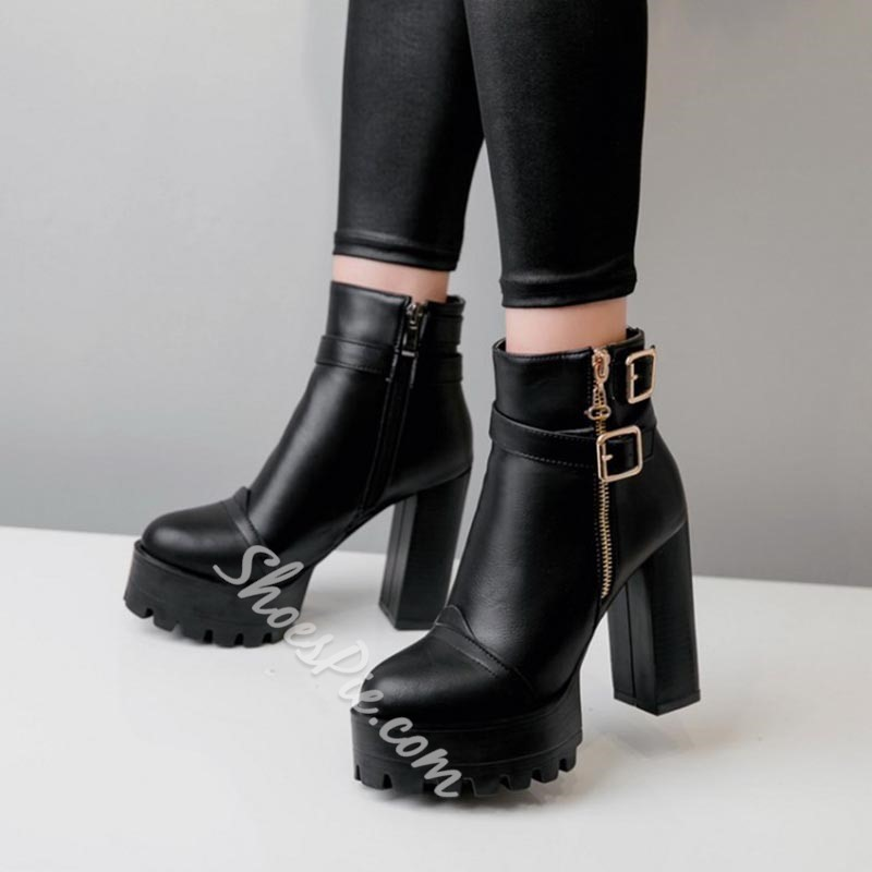 Shoespie Platform Buckle Side Zipper Chunky Heel Ankle Boots