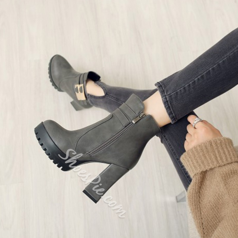 Shoespie Side Zipper Platform Chunky Heel Ankle Boots