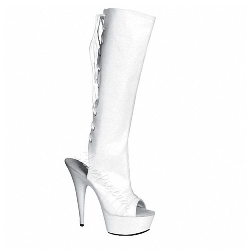 Shoespie Cross Strap Platform Open Toe Side Zipper Knee High Boots