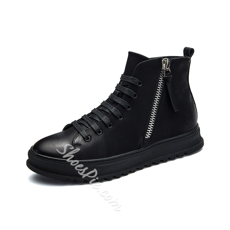 Shoespie Casual Side Zipper Lace-Up Sneakers