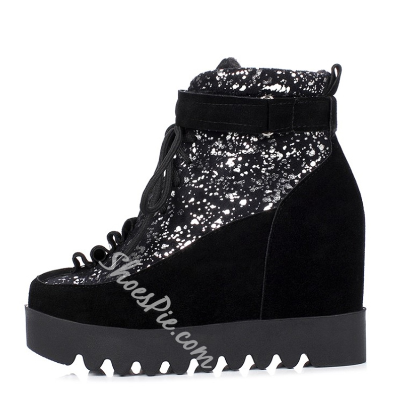 Lace-Up Front Hidden Elevator Heel Ankle Boots