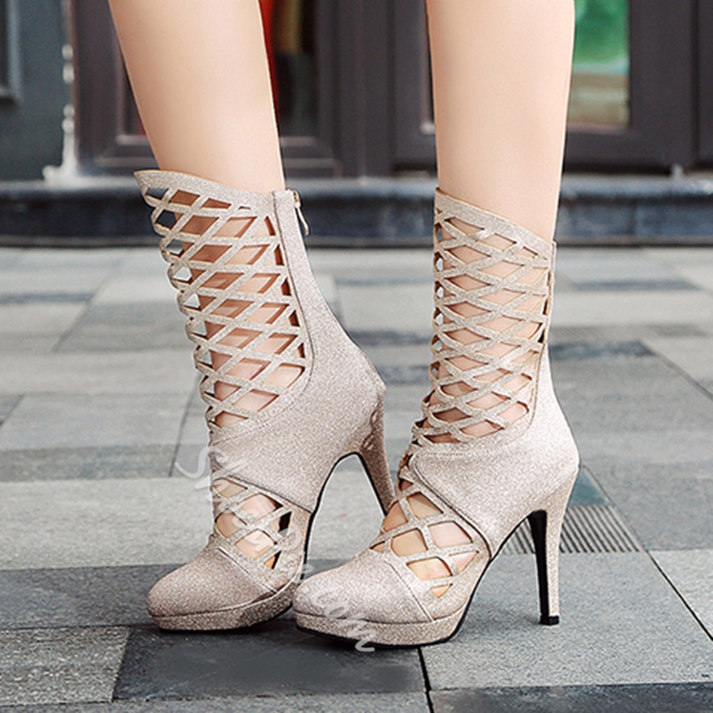 Shoespie Back Zip Hollow Ankle Boots