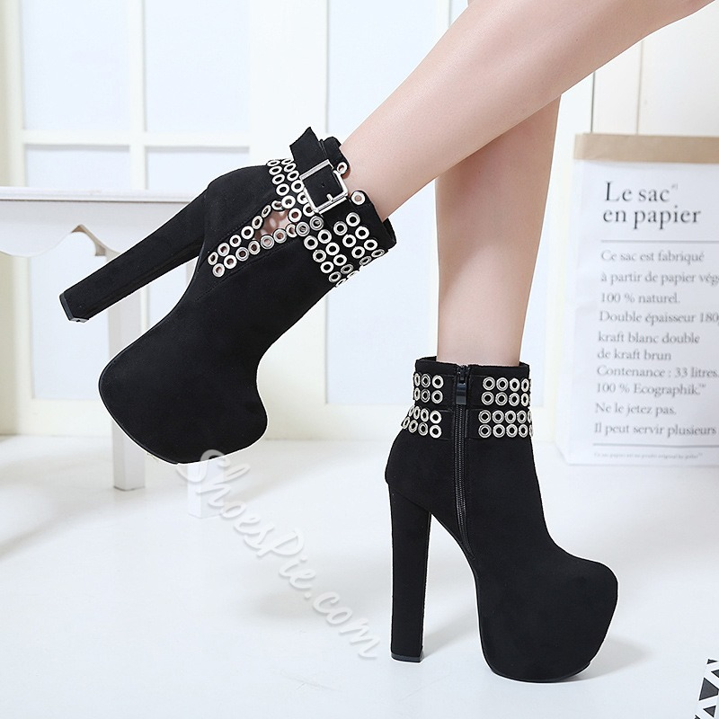 Shoespie Sequin Platform Chunky Heel Ankle Boots