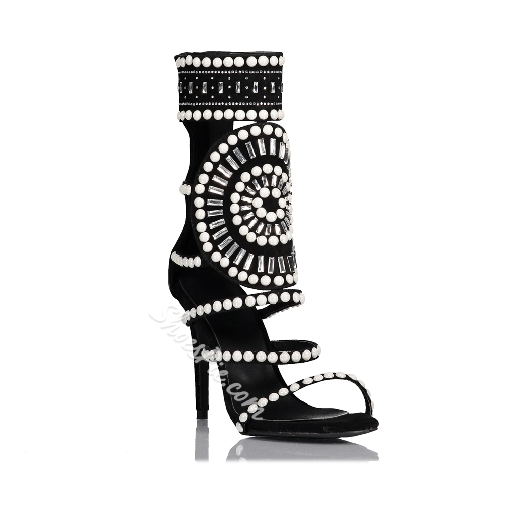 Shoespie Back Zip Hollow Rhinestone Beads Dress Sandals