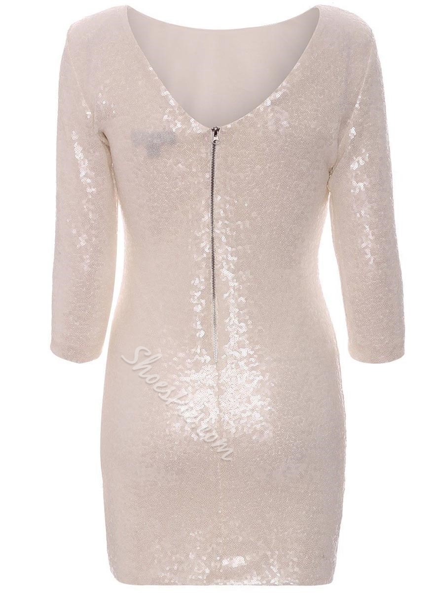 Shoespie Sequins Zipper Long Sleeve Bodycon Dresses