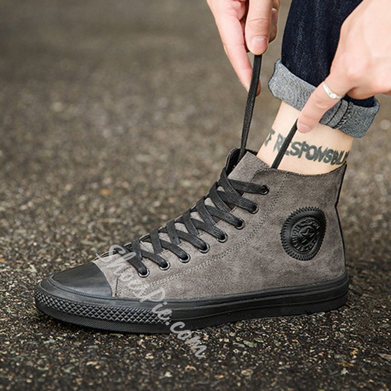 Shoespie Lace-Up Round Toe Casual Sneakers