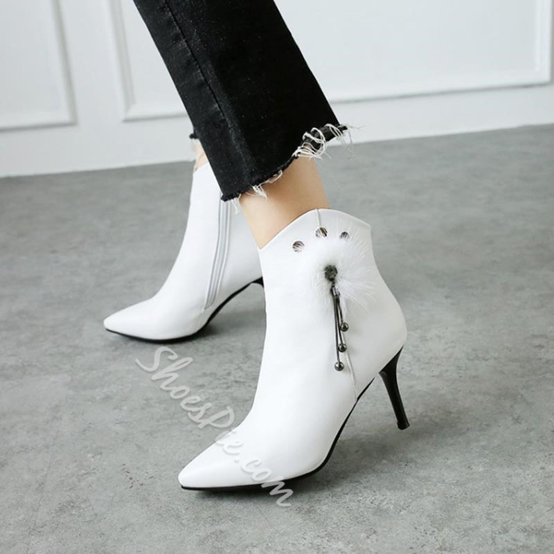 Shoespie Beads Fringe Pompon Stiletto Pointed Toe Ankle Boots