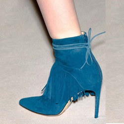 Shoespie Lace-Up Tassel Pointed Toe Boots
