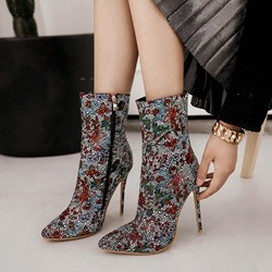 ShoespieStiletto High Heel Rhinestone Floral Boots