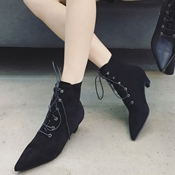 ShoespiePointed Toe Lace-Up Front Ankle Boots