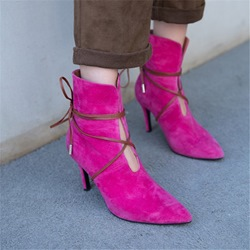 Shoespie Sexy Stiletto Heel Lace-Up Boots