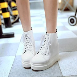 Shoespie Lace-Up Hidden Elevator Heel Women's Sneakers