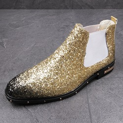 Shoespie Casual Rivet Shoes Sequin Men's Boots