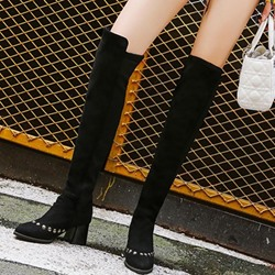 Shoespie Rivet Chunky Heel Knee High Boots