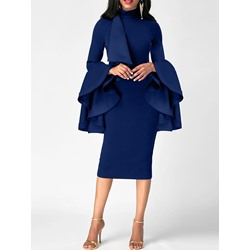 Shoespie Turtleneck Long Ruffle Sleeve Bodycon Dresses