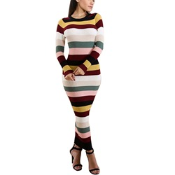 Stripe Long Sleeve Bodycon Dresses