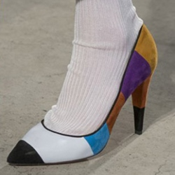 Shoespie Casual Color Block Slip-On Pointed Toe Stiletto Heels
