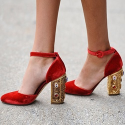 Shoespie Red Rhinestone Line-Style Buckle Heels