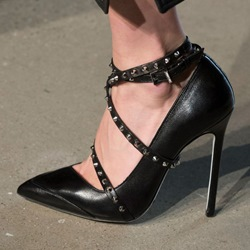 Shoespie Buckle Rivet Pointed Toe Stiletto Heels