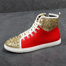 Shoespie Rivet Boots Color Block Lace-Up Men's Sneakers