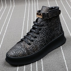 Shoespie Lace-Up Sneakers Sequin Print Boots