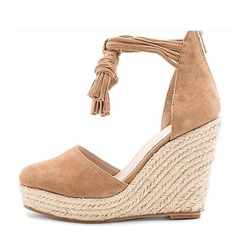 Shoespie Fringe Platform Wedge Heels