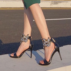 Shoespie Open Toe Rhinestone Stiletto Heels