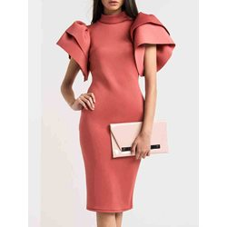 Shoespie Stand Collar Ruffle Sleeve Bodycon Dresses