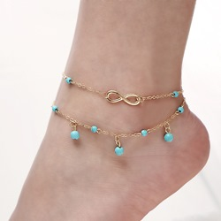 Shoespie Turquoise Two Layer Women's Anklet