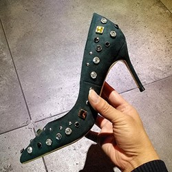 Shoespie Rhinestone Rivet Stiletto Heels