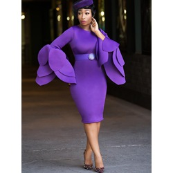 Shoespie Round Neck Long Sleeve Bodycon Dresses