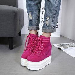 ShoespieHidden Elevator Heel Lace-Up Women's Sneakers