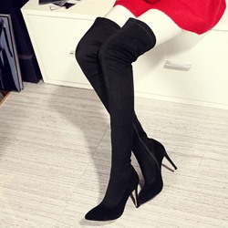 Shoespie Sexy Black Heel Knee High Boots