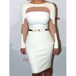 Round Neck See-Throug Long Sleeve Bodycon Dresses