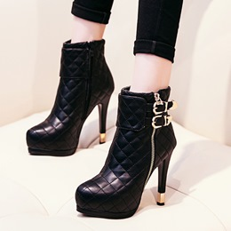 Shoespei Platform Buckle Zipper Ankle Boots