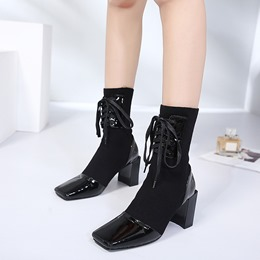 ShoespieChunky Heel Lace-Up Fall Ankle Boots