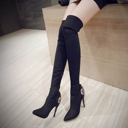 Shoespie Stiletto High Heel Rhinestone Knee High Boots