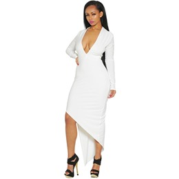 Shoespie V-Neck Asymmetric Floor-Length Bodycon Dresses
