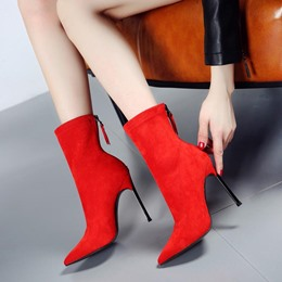Shoespie Back Zip Stiletto High Heel Fashion Boots